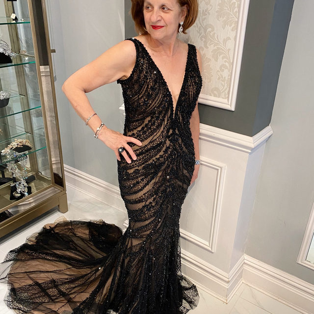 All black everything 🖤・Our very own Vasiliki tried on this absolutely stunning gown by our wonderful friend @leighjprice, the designer of @stephenyearick and @ysamakino! You will be able to try this showstopper on at #DesignYourMomDay at our Fifth Avenue salon this Thursday! We do have some new availability, so we would love to fit you & your #MotherofTheBride or #MotherofTheGroom in for this wonderful experience. Working one on one with @leighjprice is so helpful, and he is able to assist you with customizing the #weddingdress or #eveningwear gown of your dreams! 🤍・To make your appointment, you can call our salon at 212-764-3040, send us a DM or click the link in our bio to request your appointment!