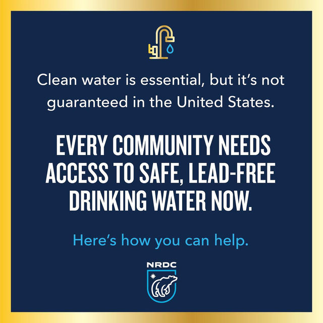 Take action for safe drinking water! 💧  Every single person deserves safe, lead-free drinking water. The EPA is currently considering updating the Lead and Copper Rule, which the Trump administration tried to weaken. We MUST strengthen this rule and get lead pipes out of the ground across the entire U.S.—people's health depends on it. How you can help: Submit a public comment to the EPA by June 30. Visit on.nrdc.org/Register and enter Docket ID No. EPA-HQ-OW-2021-0255 to submit. AND join an EPA listening session—the sessions will take place online on April 28 and May 5. Learn more and register for a 3-minute slot to testify by visiting on.nrdc.org/Comment. 📣 Spread the word and learn more via the link in our bio! 📣 #LeadAndCopperRule #Health #PublicHealth #EPA #DrinkingWater #SafeDrinkingWater
