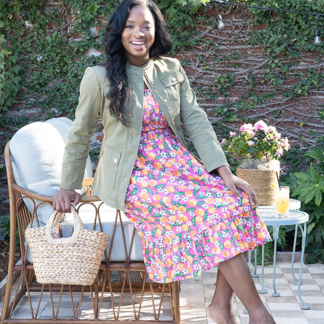 """Pro tip: """"Keep the accessories muted and let the bold print do the talking,"""" says Louisiana style blogger @mhykeexg of styling her Orange Blossom-print dress. """"You never want your accessories competing with a good statement print."""""""