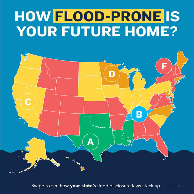 "❗ Millions of Americans live in homes at risk of flooding—and a home that has flooded once is likely to get hit again.   🌊 Unfortunately, many states allow sellers to leave prospective homebuyers in the dark about a property's flood risk.   🏠 Limiting access to such information prevents people from making smart decisions about where to live and disincentivizes flood protections.   🔎 Explore this flood disclosure scorecard to see if your state's real estate disclosure laws mean ""buyer beware.""   🗺️Link in bio for an interactive map.   #ClimateCrisis #ClimateChange #NewHome #Homeownership #HomeOwners #FirstTimeHomeBuyer #Flood"