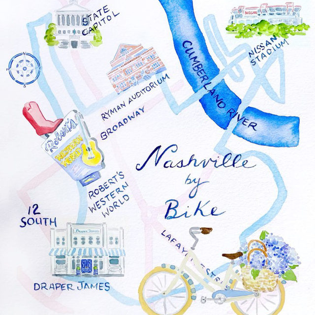 """It's spring —let's ride! In honor of our Draper James x Linus Bikes collaboration, we worked with artist @jeannemckayhartmann to create a biker's map of Nashville. """"Creating this map was like cruising through Nashville on a dream bike tour,"""" she says. """"A dear friend lives there, so visits are full of fun, laughter and the kind of adventures you can only have with your girlfriends."""" ✨🚲👭"""