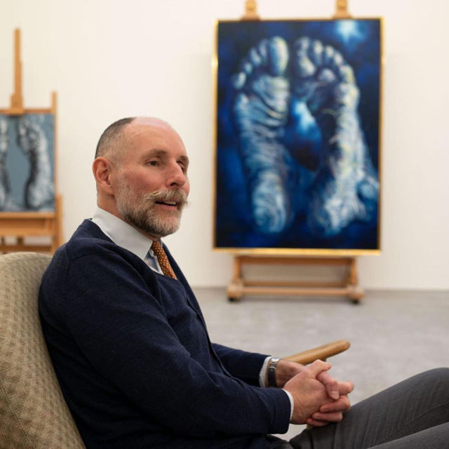 """#GagosianSpotlight: """"I'm not trying to be Dürer. I'm just trying to be a bit of Dürer, perhaps with a bit of Dalí, for the twenty-first century—which is good enough for me."""" —Glenn Brown  In a new piece for """"Gagosian Quarterly,"""" Glenn Brown speaks with art historian Jacky Klein about working between mediums, his first finished painting of 2021, and the evolution of his artistic voice. Follow the link in our bio to read the article.  __________ #GlennBrown #GagosianQuarterly #Gagosian @glennbrownofficial @jackyklein  (1) Glenn Brown in his studio, with """"Touch the Flaming Dove"""" (2021, right), and an unfinished work (left), London, 2021; (2) Jacky Klein in Glenn Brown's studio, London, 2021. Photos: Edgar Laguinia"""
