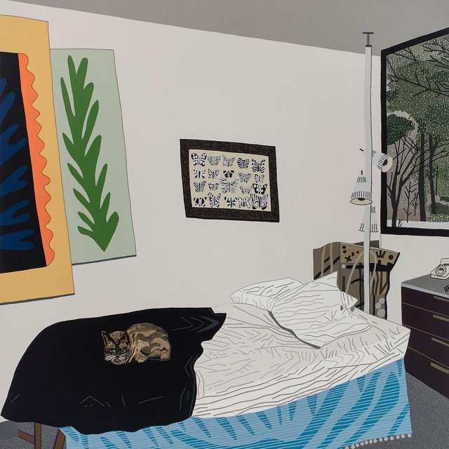 """The National Gallery of Art in Washington has acquired """"Helen's Room"""" (2017) by Jonas Wood—the first work by the artist to join the collection. The artist's graphic painting style uses familial relations to address the real and psychological spaces that capture the intimacy and personal nature of his work. An important example of the artist's work, """"Helen's Room,"""" refers to an upstairs bedroom in Wood's maternal grandfather's home in Binghamton, New York.  Aided by a photo of the original space, Wood made the work as a combination of real and invented imagery, as remembered at age nine. The """"real"""" elements from the photo include the cat (a Siamese belonging to the artist's parents), the bed, copies of Matisse paintings made by SUNY Binghamton students commissioned by his grandfather, the lighting, folded maps behind the floor lamp, the phone, and the remote control on the side table. To these items, Wood added the butterfly/moth picture above the bed (a colored version was owned by Wood's maternal uncle in a"""