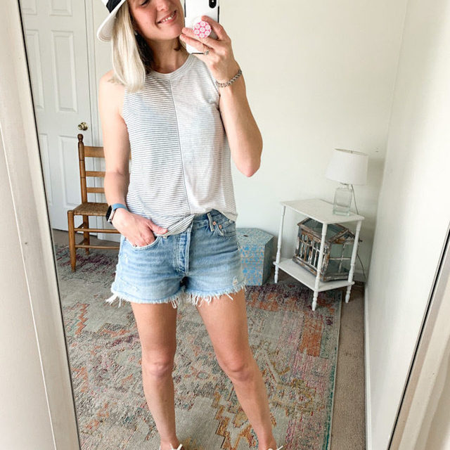 I've found my Summer Uniform, me thinks.   I'm not usually a hat person, but after reading all of the RAVE reviews written about this one, I had to give it a try. And, I love it! Insider tip: a cool lady on Instagram messaged me, waxing poetic about all of its many good qualities (basically, she's smashed + smooshed this thing on several trips, etc, and it still looks brand new).   It's the perfect topper to this easy breezy look. A @splendidla tank, @Agolde denim shorts (which even as @Levi's Gal, they are legit cut-offs and should definitely be given some consideration) and my @Soludos Pressed Flora Ibiza Sneakers.  Cheers,  Cams @camilledipaola . Click the link in our bio to get Cam's #OOTD