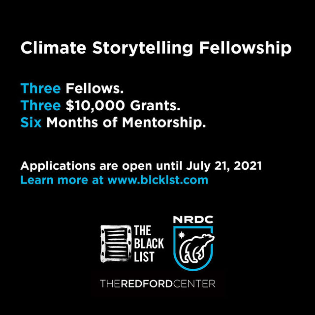 We're thrilled to partner with @theblcklst + @redfordcenter for the first ever Climate Storytelling Fellowship! 3 writers will receive $10,000 each as well as major creative support for their original script that helps change the climate narrative. 🎬  The Climate Storytelling Fellowship aims to encourage more varied climate stories that reflect the reality of the climate crisis + solutions. We're so thrilled to have screenwritinging mentors including @sarahtreem and @scottzburns onboard for this program!   Submissions are open until 7/21. ⤵️  To apply for the fellowship, the submitted script (feature or pilot) must include climate in the story in a meaningful way that involves major characters, events, or plot. 🌍   Learn more through the 🔗 in bio.   #ReWriteTheFuture #TheBlackList #RedfordCenter #ArtForChange #ClimateChange #ActOnClimate #FilmMakers #FilmCommunity #ArtOfInstagram #FellowshipOpp #ClimateStorytelling #StoryTelling #ClimateActivist