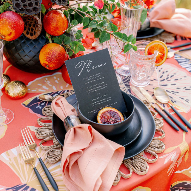 """It's official, we have a major crush on Coral! 🧡Seemingly becoming the """"it"""" color overnight, we haven't found a Coral we didn't love. Not quite orange, not quite pink, it's the perfect in-between! We're in love, we're in love, and we don't care who knows it. Featuring our Harbour Island Table Linen and Persimmon Hemstitch Napkin. Use the link in our bio to begin your own love affair.  _________ Credits: Planner: @annaluciaevents Photography: @hunterryanphoto Floral: @50fiftyevents Rentals: @eventsontheloose, @thecovetedco, @cb2, @aerin"""