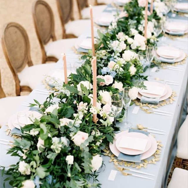 If you've been searching for the perfect floral runner, look no further! 💙 This jaw-dropping beauty is the epitome of perfection. From the coordinating blue flowers to the gold accents, we are in tabletop heaven. Featuring our Cadet Blue Velvet Table Linen and Napkin. Use the link in our bio to see more of these beautiful products.  _________ Credits: Venue + Design: @theivyrosebarn  Photography: @nicolecolwellphotography  Florals: @lovebloomsdc  Rentals: @the_heirloom_collection  Paper: @sugaredfigpaperie
