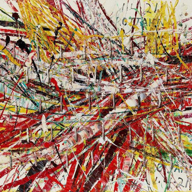 """#MarkGrotjahn: """"I like less looking, more doing."""" —Mark Grotjahn  Gagosian is pleased to present """"Horizontals,"""" an exhibition of new and recent paintings by Mark Grotjahn from the """"Capri"""" series (2016–), opening May 18 at Gagosian, Hong Kong.  Stemming from a body of work that he produced in 2016 for Casa Malaparte on the isle of Capri, Italy, the new paintings extend Grotjahn's shift away from the representational qualities of the """"Face"""" paintings (2003–) toward the realm of full abstraction. Inspired by the landmark modernist house of writer Curzio Malaparte—isolated on a rocky outcrop on the uninhabited side of the island—Grotjahn inaugurated the series with a group of works titled """"New Capri."""" Painted on cardboard and presented behind glass, these dynamic compositions echo the rugged natural environment of the house's setting. Follow the link in our bio to learn more about the exhibition. __________ #Gagosian @markgrotjahn Mark Grotjahn, """"Untitled (Capri 53.88),"""" 2021 © Mark Grotjahn. Photo: Douglas M. Pa"""