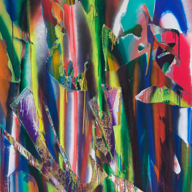 """Tune in today at 1pm EDT for a virtual conversation between Katharina Grosse and the Milwaukee Art Museum's interim chief curator and curator of contemporary art, Margaret Andera. The pair will discuss Grosse's """"Untitled"""" (2019), which the museum recently acquired. The painting is the first work by the artist to enter the collection as well as the first by a female artist in the museum's collection of contemporary German paintings. Follow the link in our bio to register for the event. __________ #KatharinaGrosse #Gagosian @milwaukeeart Katharina Grosse, """"Untitled,"""" 2019 (detail) © Katharina Grosse and VG Bild-Kunst, Bonn, Germany 2021"""