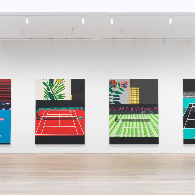 """#JonasWood: """"Four Tennis Courts,"""" an exhibition of new paintings by Jonas Wood, is on view at Gagosian, 980 Madison Avenue, New York, through July 16.  The chromatic density and richness of these works stands in contrast to the simplicity of their composition. """"Wimbledon with Bball Orchid"""" and """"French Open with Orchid"""" incorporate snippets of paintings of plants and basketballs, hinting at the studio space beyond the screen, while """"Australian Open with Red Lines"""" and """"Abu Dhabi"""" feature strategically positioned abstract elements, with bars of red and black recalling postwar Color Field painting. Together, the quartet forms a Grand Slam in which the rigors of professional athletic competition are displaced by deft visual play. Follow the link in our bio to learn more about the exhibition or to schedule an appointment. __________ #Gagosian @jonasbrwood Installation views, """"Jonas Wood: Four Tennis Courts,"""" 980 Madison Avenue, New York, June 2–July 16, 2021. Artwork © Jonas Wood. Photo: Rob McKeever"""