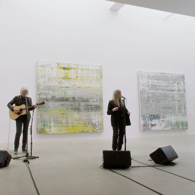 """#GagosianPremieres: The most recent episode of Gagosian Premieres celebrates """"Gerhard Richter: Cage Paintings""""—an exhibition presented at Gagosian New York and Beverly Hills—with a musical performance and reading by Patti Smith, new choreography created and performed by Rashaun Mitchell + Silas Riener in response to Gerhard Richter's work, and commentaries by Hans Ulrich Obrist and Richard Calvocoressi. Follow the link in our bio or visit youtube.com/gagosian to watch now. __________ #GerhardRichter #Gagosian @thisispattismith @rashaun.silas @hansulrichobrist @johncagetrust Artwork © Gerhard Richter. Video: Little Dot Studios (@littledotstudios); Music: """"Dancing Barefoot,"""" written by Patti Smith and Ivan Král, performed by Patti Smith with Tony Shanahan"""