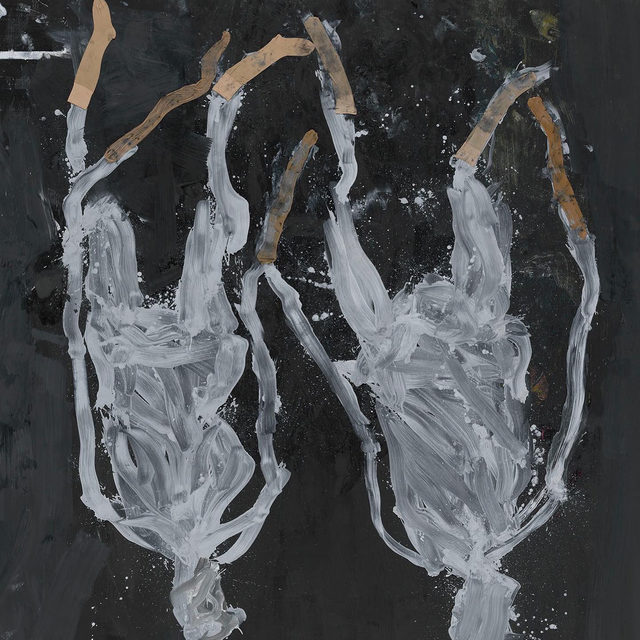"""#GeorgBaselitz: """"Springtime,"""" an exhibition of new paintings by Georg Baselitz, closes today at Gagosian, 555 West 24th Street, New York.  In this series, Baselitz introduced the idea of collage by gluing pairs of nylon stockings onto canvases and painting over and around their diaphanous forms in white, black, or gold. In some paintings, these stocking-figures remain distinct from their backgrounds, while in others, printed impressions replace the hosiery itself, their stretched forms snaking from multihued """"skirts"""" of expressive splatters, like plants from undergrowth. Follow the link in our bio to learn more or to schedule an appointment. __________ #Gagosian (1) Georg Baselitz, """"Displaced Persons,"""" 2020; (2, 4) Installation views, Installation views, """"Georg Baselitz: Springtime,"""" Gagosian, 555 West 24th Street, New York, May 4–June 12, 2021. Photo: Rob McKeever; (3) Georg Baselitz, """"Springtime of the Black Mountain Lake,"""" 2020. Artwork © Georg Baselitz 2021"""
