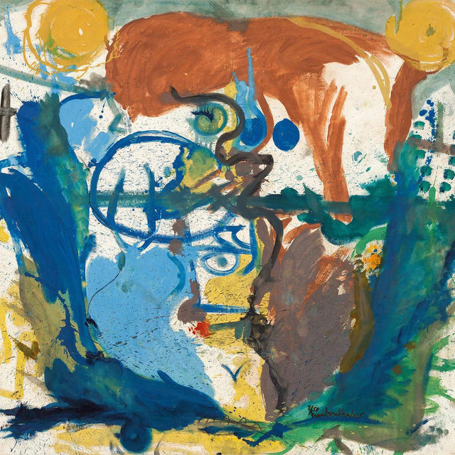 """#HelenFrankenthaler: """"Imagining Landscapes: Paintings by Helen Frankenthaler, 1952–1976,"""" an exhibition of fourteen paintings from the collection of the Helen Frankenthaler Foundation, opens this Thursday, June 17, at Gagosian, Grosvenor Hill, London. Several of the works in the show have never been exhibited before.  The references to landscape that are inherent in these paintings shift between subtle and explicit, as critic E. C. Goossen observed in 1958. All are characterized by an extraordinary variety of line and color, and the later works show Frankenthaler simplifying her drawing and making it more calligraphic, even as she continued to create figural as well as landscape references. Follow the link in our bio to learn more about the exhibition or to schedule an appointment. __________ #Gagosian @helenfrankenthalerfoundation Helen Frankenthaler, """"Untitled,"""" 1958 © 2021 Helen Frankenthaler Foundation, Inc./Artists Rights Society (ARS), New York/DACS, London. Photo: Robert McKeever"""