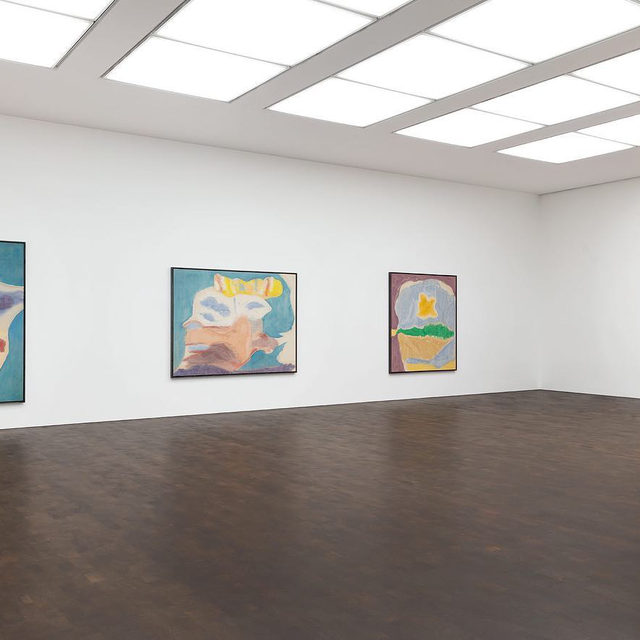 """#HelenFrankenthaler: """"Imagining Landscapes: Paintings by Helen Frankenthaler, 1952–1976,"""" an exhibition of fourteen paintings from the collection of the Helen Frankenthaler Foundation, is now on view at Gagosian, Grosvenor Hill, London.  In three canvases from 1963, which are presented in the exhibition, a major change is evident in Frankenthaler's approach. Juxtaposed areas of lush stained color replace the lines of the earlier paintings, their irregular borders evoking the boundaries of natural forms. The titles of these works—""""Narcissus,"""" """"Yolk,"""" """"Sea Goddess""""—invite interpretation of their sometimes aqueous, sometimes cloudy forms in the manner that Leonardo da Vinci advised painters to look at stained walls and see in them images of the natural world. Even as Pop art was recuperating explicit depiction, and Color Field painting purist abstraction, Frankenthaler maintained in her own way an art of allusion—the richness of ambiguous reference—and cultivated a complexity akin to the volatility of the physic"""