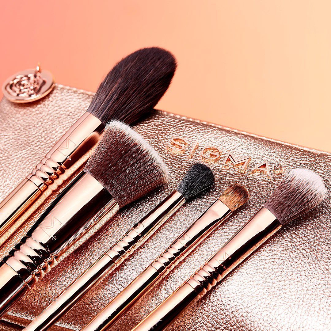 NEW! Iconic Brush Set ✨ Get glam with 5 beautiful rose gold brushes inside a matching Beauty Bag. Click #linkinbio to shop. #sigmabeauty #sigmabrushes #sigmacorderosa
