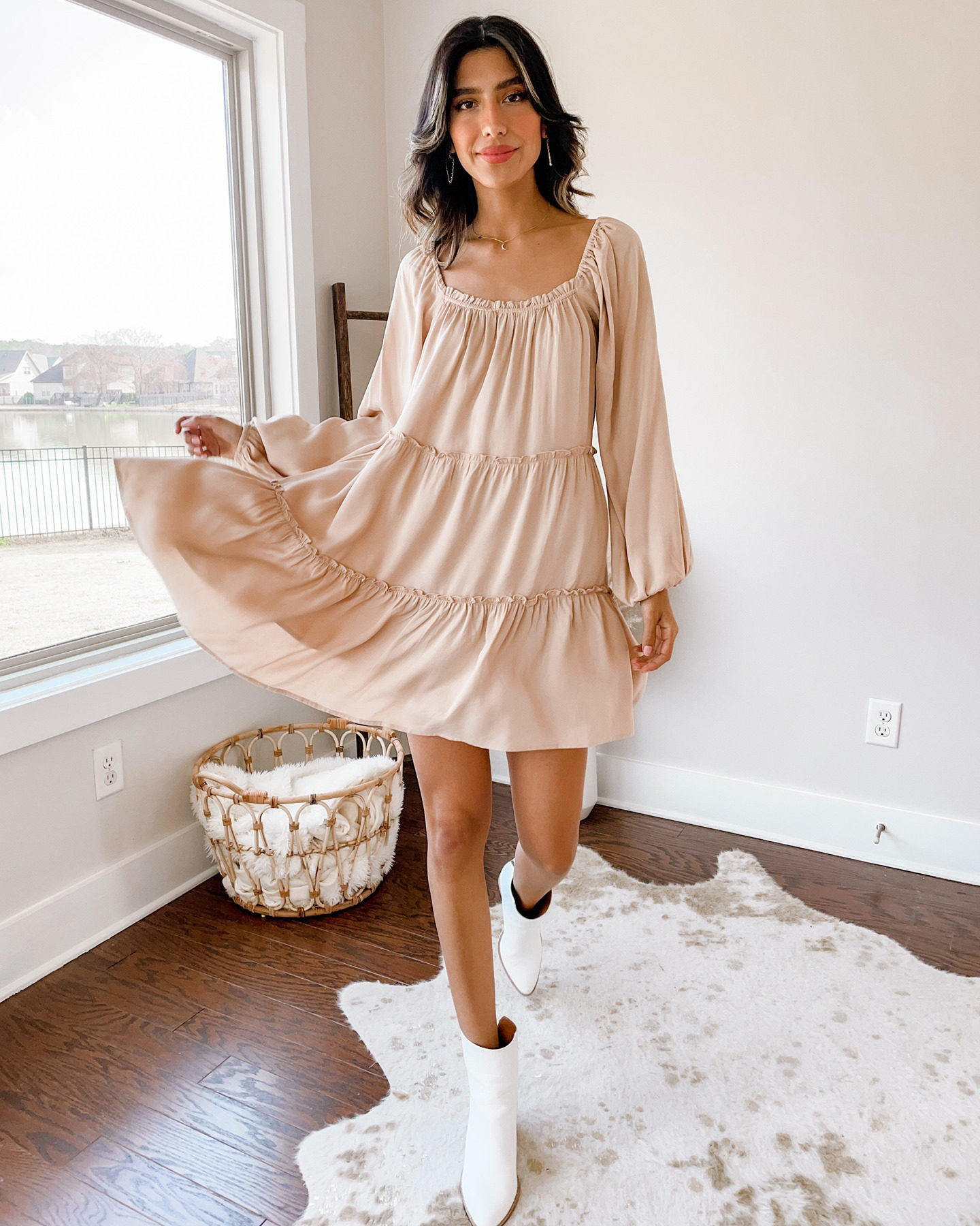 taupe baby doll dress